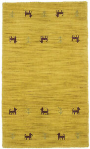 Hand-Loomed Solid Gold Contemporary 2X3 Small Oriental Modern Rug Decor Carpet