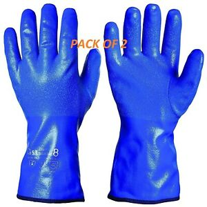 GRANBERG NITRILE DIPPED GLOVES Winter Lining Fishing Oil 30cm size 8 PACK OF 2