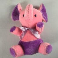 "Superior Toy Novelty Plush Elephant VTG Firm Stuffed 13"" Carnival Pink Purple"