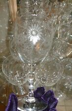 Vintage Clear Glass Goblet w/ Etched Dot Flower Design.Unknown Maker.9 available