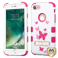 Butterfly Dancing Hot Pink TUFF Hybrid Cover with Stand APPLE iPhone 8 7