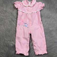 Vintage Baby Girls Pink White Seersucker Striped Bunny Easter Romper