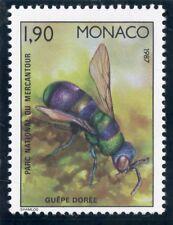 TIMBRE DE MONACO N° 1568 ** FAUNE / INSECTES PARC MERCANTOUR / GUEPE DOREE