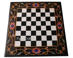 """Square White Marble Coffee Table Top Chess Pattern Patio Sofa Table for Home 24"""""""