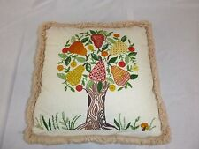 Vtg 70s Crewel Embroidery MOD Square Fringed Pear Tree Motif Throw Pillow