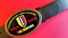 Vietnam Veteran  UNITED STATES ARMY Epoxy Belt Buckle& Black Belt NEW