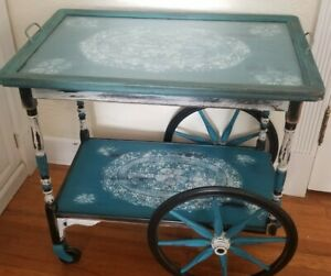 Antique Rolling Bar Serving Tea Cart With Serving Tray Wood Casters Shabby Chic