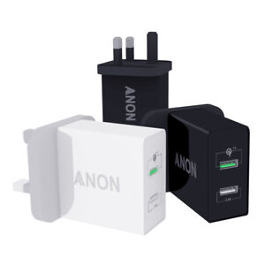 GENUINE ANON MAINS FAST CHARGER PLUG USB UK FOR XIAOMI MI PLAY