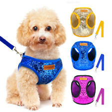 Adjustable Bling Sequins Dog Harness Leash set Pet Puppy Cat Mesh Padded Vest