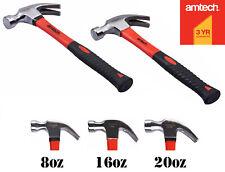 8 16 20oz Claw Hammer Fibreglass Handle Shaft Rubber Grip Carpet Wall Nail Remov