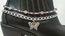 Boot Bling Anklet Chain Bracelet Jewelry Butterfly Charm Purple Amethyst Crystal