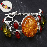 Silver Vintage Jewelry Gift Women Amber Wedding Chain Baltic Bracelet Bangle