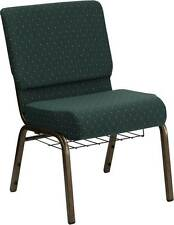 LOT OF 50 21''W GREEN PATTERN FABRIC STACKING CHURCH CHAIRS CUP/RACK GOLD FRAME