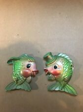 Chalkware Green And Pink Fish Pair Hanging Wall Plaque