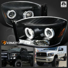 2006-2008 Dodge Ram Halo Black Projector Headlights Pair Left+Right