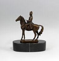 9937632-ds Bronze Skulptur sign.A.Canova Napoleon zu Pferde Steinsockel 16x19cm