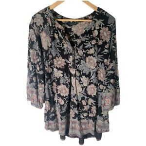 Lucky Brand XL Floral Top Blouse Black