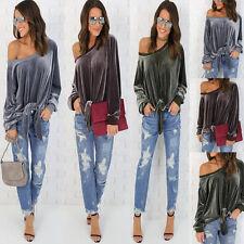 Women Off Shoulder Velvet Shirt Ladies Lace Up Top Plain Blouse Casual T-shirt