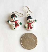 Snowman Resin Charm Dangle Earrings Handmade