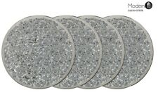 4 Mirrored silver mosaic sparkle glass coasters, crackle glass silver coasters