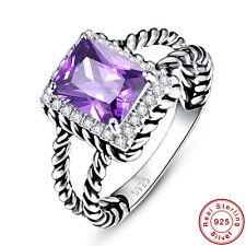 3.8CT Emerald Cut Noble Amethyst 100% 925 Sterling Silver Ring Size L½ N½ P½ R½