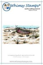 """Stempel """"Beach Front"""" Whimsy Stamps, Boot am Strand, rubber stamp"""