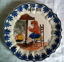 """alter Teller mit Handmalerei Silber Craquelé-Effekt Fayence bezeichnet: """"Winter"""""""