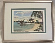 Vintage Framed Signed Watercolor Print Mangrove Bay Bermuda by Anita Symonds