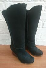 Rare UGG Aprelle 3195 Black Suede Leather Tall Wedge Boots Size UK 4.5 / 4 EU 37
