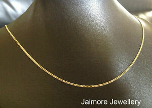 """CURB Diamond Cut 1mm Necklace 100% Real 9K Aust Gold & 925 Silver CHAIN 20""""/50cm"""