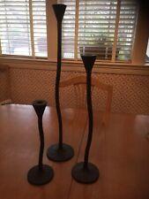 "3 Pottery Barn Rustic Iron Petaluma Taper Candle Holders 24"" 18"" 12"" Candlestick"