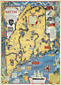 Early Pictorial Wall Map Maine Old Dirigo Wall Art Poster Print Vintage History