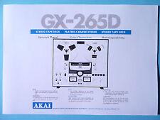 Operator's Manual-Bedienungsanleitung für Akai GX-265D