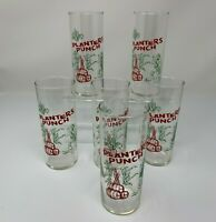 Planters Punch Glasses Set of Six Vintage Barware Tiki Party Cocktails Beverage