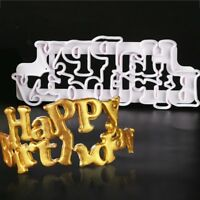 DIY Happy Birthday Mold Cutters Fondant Cake Decorating Plunger Baking Tools