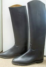 MILLERS ROYALE LONG BLACK LEATHER RIDING BOOTS UK 7 PULL-ON SHOWING HUNTING