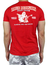 True Religion Men Double Puff T-Shirt Horseshoe logo Premium Vintage Red Tee