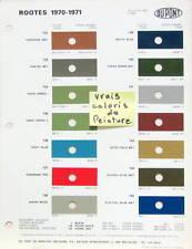 1970 - 71 ROOTES HILLMAN HUMBER SINGER SUMBEAM TEINTES VRAIS COLORIS DE PEINTURE