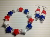 Patriotic 4th July Red White Blue Earrings  Stretch Bracelet Set US Jewelry Gift