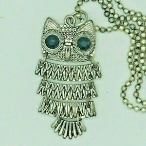 Owl Pendant with black gem eyes and Chain