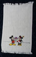 vintage DISNEY Mickey Minnie Mouse hand towel thick weave fringed