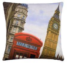 2x Londres Big Ben Teléfono Caja Rojo Marrón Azul Fundas Cojín 43.2cm-43cm