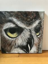 Original acrylic painting- great horned owl on canvas 12x12x0,5inches