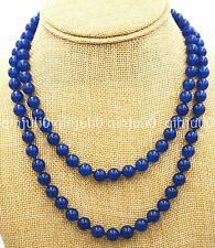 "Fashion Women's Natural 8mm Sapphire Blue Jade Round Beads Necklace 36"" JN692"