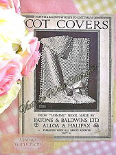 Vintage 1930s Crochet Pattern Cot Cover for Baby + 1 Knitted £2.49 NO UK P&P !!