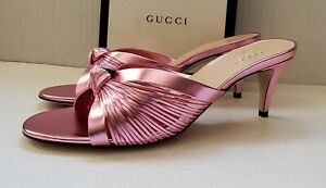 Gucci metallic pink leather slide knot sandals  IT 40