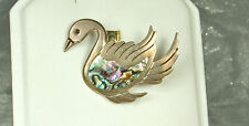 1940s TAXCO MASTER PEDRO CASTILLO STERLING Silver SWAN Pin~ABALONE Inlay~EX!!!