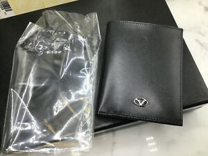 Visconti Michelangelo Designs Black Italian-Made Leather Wallet Jacquard Lining