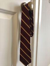 Brooks Brothers 100% Silk Boys / Youth Tie Burgandy Maroon & Yellow Stripe