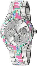 GUESS U0556L11 Floral Print Silver-Tone Stainless Steel Bracelet Women's Watch